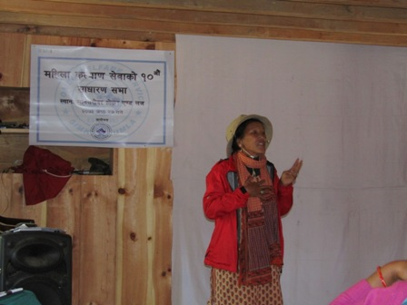 Executive Director Laxmi Lama speaking on 10th General assembly